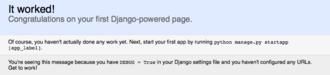 Django (web framework) - Image: Django default page