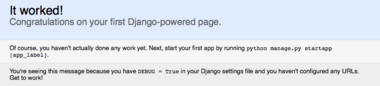 The default Django page