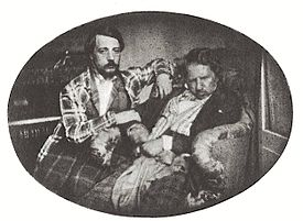Daguerreotype taken on 3 August 1847: Donizetti with his nephew Andrea in Paris (Source: Wikimedia)