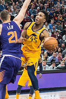 4ecb3c4d77e6 Donovan Mitchell playing for Utah Jazz in 2018