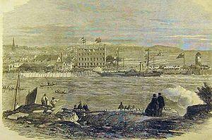 Douglas Harbour - Sketch depiction of Douglas Harbour, circa 1861.