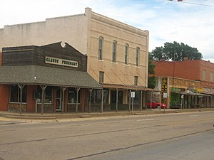 Claude, Texas - A view of downtown Claude, Texas, on U.S. Highway 287 with the historic pharmacy building on the left