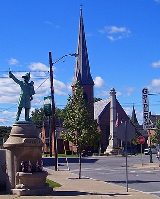 Walden, New York - Central Walden, with memorials and  St. Andrew's Episcopal Church, in 2007