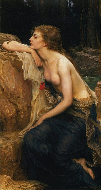Lamia - The Lamia: In this 1909 painting by Herbert James Draper, Lamia has human legs and a snakeskin around her waist. There is also a small snake on her right forearm.