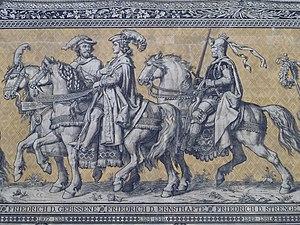 Frederick II, Margrave of Meissen - Frederick I, Margrave of Meissen (1307–1324), Frederick II, Margrave of Meissen (1324–1349), and Frederick III, Landgrave of Thuringia (1349–1381); Fürstenzug, Dresden, Germany