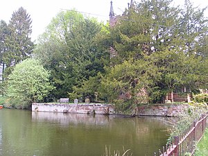 Badger, Shropshire - Pool in front of St. Giles' church. The pools go back centuries but were enlarged and reshaped in the Georgian period.