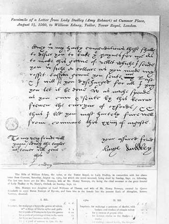 Amy Robsart - Amy's last letter to her London tailor on 24 August 1560.