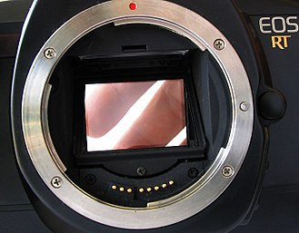 Pellicle mirror - The pellicle mirror of the Canon EOS RT