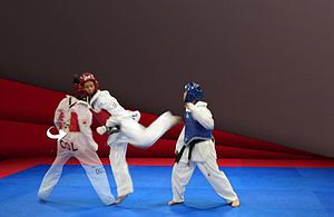 Kick - Taekwondo back kick.