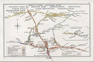 Stations around Shepherd's Bush - 1911 diagram of West London railways