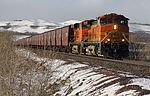 An eastbound BNSF grain train near the Durham Road crossing on the Blackfoot Reservation near Browning, Montana, in January 2013