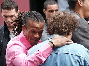 Edgar Davids - Davids embraces Ajax team manager David Endt during his second period at Ajax, with Thomas Vermaelen and Gregory van der Wiel behind.