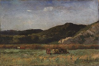 Untitled (landscape with cows grazing, hills)