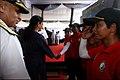 Efence Minister Nirmala Sitharaman and CNS Adm. Sunil Lanba greet the crew of Navika Sagar Parikrama.jpg