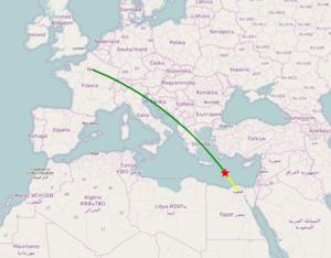 EgyptAir Flight 804 - Image: Egypt Air Flight 804 route
