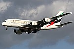 Emirates A390-861 (A6-EEH) landing at Amsterdam Airport Schiphol.jpg
