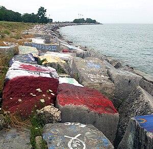 Northwestern University Lakefill - Painted rocks on the lakefill in 2008