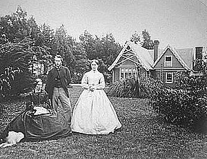William Travers (politician) - Travers with his wife and daughter in the garden of Englefield Lodge in Christchurch.