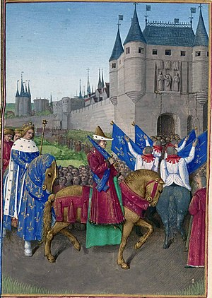 Paris in the Middle Ages - King Charles V enters the gates of Paris in 1358 in an illustration of ca. 1455-60 by Jean Fouquet in the Grandes Chroniques de France