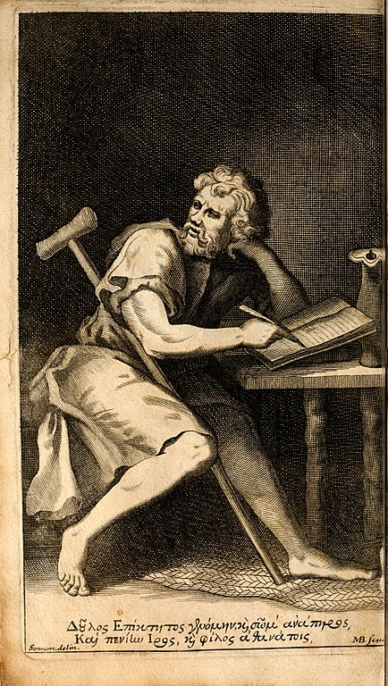 Portrait of Epictetus from the engraved frontispiece of Edward Ivie's Latin translation of the Encheiridion, 1751. (Wikimedia Commons)
