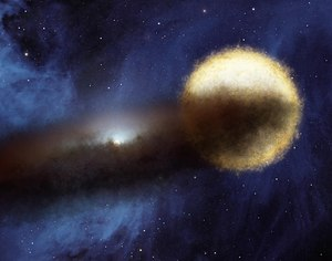 Epsilon Aurigae - Bright class F star and companion Class B star surrounded by a dusty disk (artist impression)