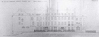 Raymond Erith - Erith's proposed alterations and additions to the south elevation of 10, 11, and 12 Downing Street, for the 1958 renovation of the buildings