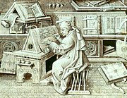 Burgundian scribe (portrait of Jean Miélot, from Miracles de Notre Dame), 15th century. The depiction shows the room's furnishings, the writer's materials, equipment, and activity.