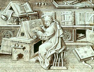 Jean Miélot - An author portrait of Jean Miélot writing his compilation of the Miracles of Our Lady, one of his many popular works. The setting is probably the ducal library.