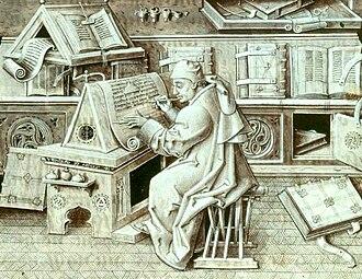 Librarian - Burgundian scribe Jean Miélot in his scriptorium (15th century)