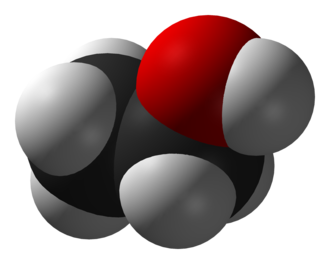 Atomic radius - The approximate shape of a molecule of ethanol, CH3CH2OH. Each atom is modeled by a sphere with the element's Van der Waals radius.