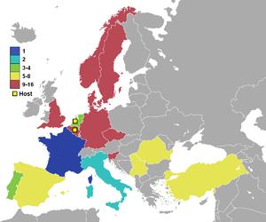 Image montrant les pays participants (colorés) et leurs classements