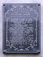 Memorial plaque expulsion of the Jews