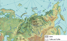 The Siberian Traps underlie much of Russia, from the Lena River west to the Ural Mountains (around 3,000 km), and stretching south from the Arctic coast almost to Lake Baikal (around 2,000 km).