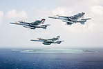 FA-18E of VFA-113, FA-18F of VFA-94 and EA-18G of VAQ-139 in flight off Wake Island on 26 October 2017 (171026-N-TQ088-321).JPG