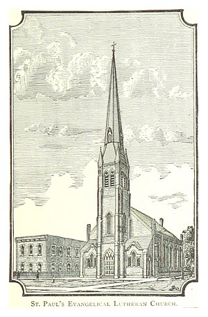 Joseph Campau Street - Image: FARMER(1884) Detroit, p 673 ST. PAUL'S EVANGELICAL LUTHERANCHURCH, JOSEPH CAMPAU AVENUE