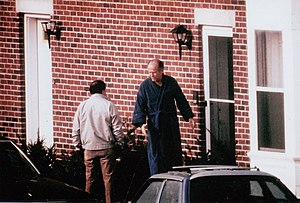 """Winter Hill Gang - FBI surveillance photograph of the former Winter Hill Gang hierarchy in the 1980s. Mob boss James """"Whitey"""" Bulger (right) and lieutenant Stephen Flemmi."""