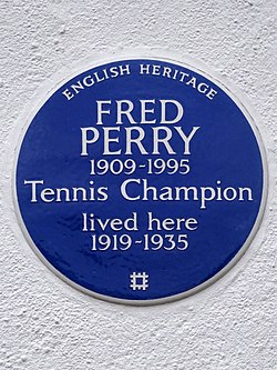 Photo of Fred Perry blue plaque