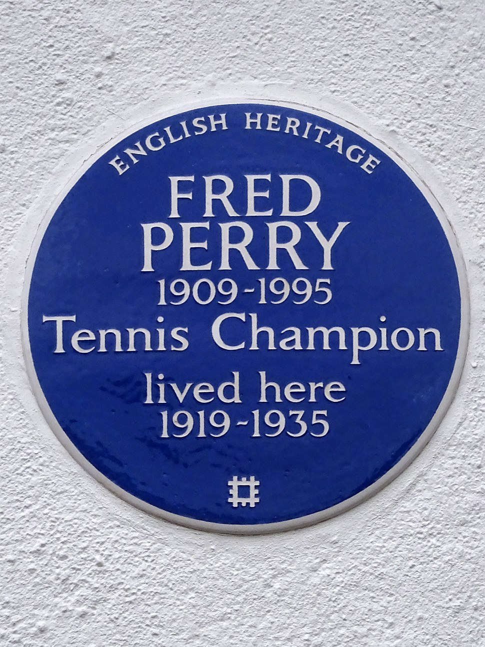 FRED PERRY 1909-1995 Tennis Champion lived here 1919-1935