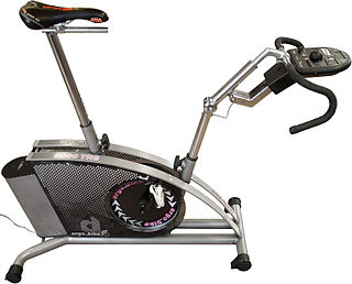 Stationary bicycle device with saddle, pedals, and some form of handlebars arranged as on a bicycle, but used as exercise equipment rather than transportation.