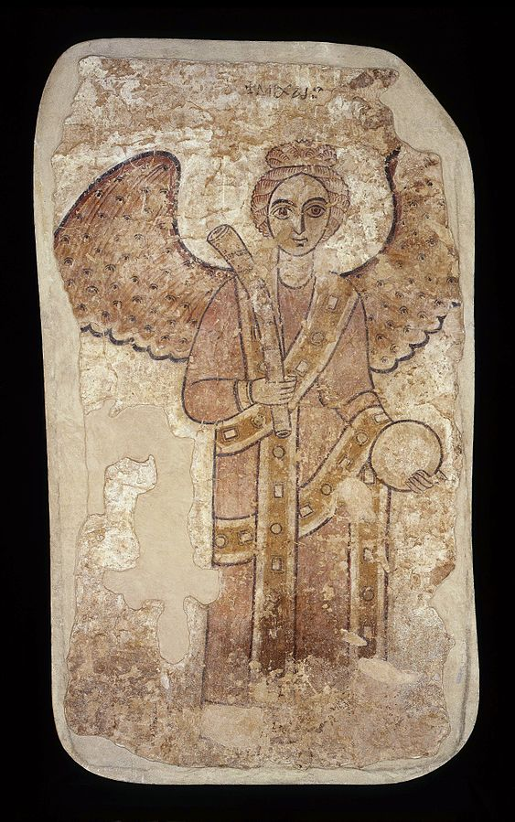 Archangel Michael with a horn trumpet and an orb