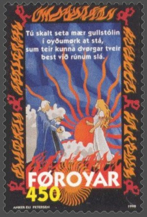 Brynhildr - Faroese stamp depicting Brynhild and Buðli