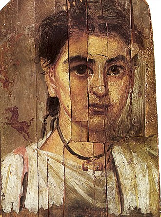 Panel painting - Boy from Al-Fayum, 2nd century CE (a mummy portrait). Encaustic on wood—note the cracks.