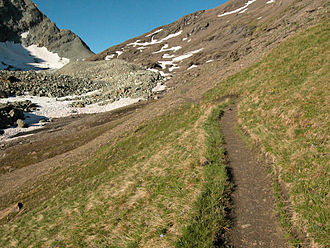 Valpelline (valley) - The footpath leading from Switzerland to the Fenêtre de Durand.