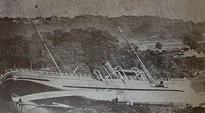 SS Fenella (1881) - Fenella pictured aground at the Menai Bridge, 9 September 1884.