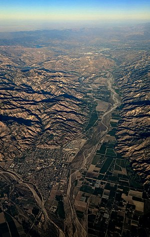 Fillmore, California - Late afternoon aerial view of Fillmore (left foreground) and the Santa Clara River Valley.  State route 126 runs along the valley, to Castaic Junction at the east end.