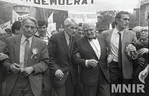 Christian Democratic National Peasants' Party - From left to right: Ion Diaconescu, Corneliu Coposu, and Ion Rațiu at a 1990 manifestation held in Bucharest