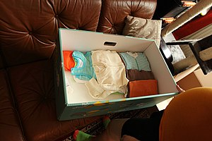 Picture of some of the items inside the maternity package in 2014.