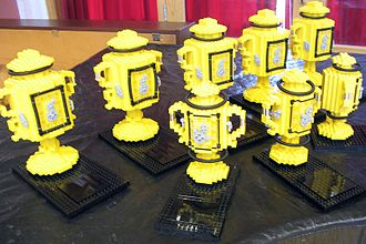 FIRST Lego League - Trophies made of LEGO blocks for First LEGO League 2005 regional winners.
