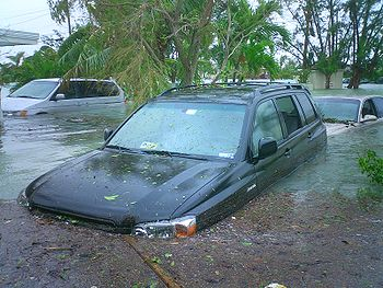 Flooding near Key West, Florida, United States from Hurricane Wilma's storm surge in October 2005