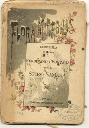 Spyridon Samaras - Original libretto's cover for Flora mirabilis (1887).